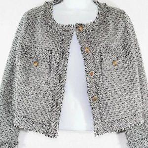 Ecrin tweed blazer jacket open front raw edge S